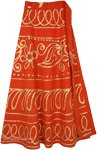 Tangy Orange Rust Wrap Skirt with Golden Paint Work