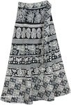Abstract Elephant Parade Wrap Around Skirt in Black and White