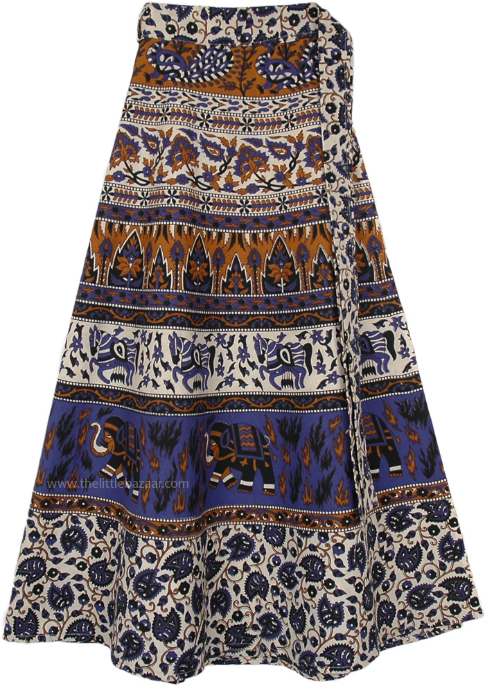 EthniCity Jaipur Design Wrap Skirt in Earthy Colors