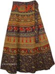 Deep Purple Fall Wrap Skirt with Elephants