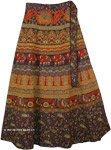 Deep Purple Fall Wrap Skirt with Elephants