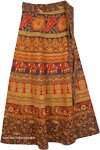 Animal Cocoa Bean Ethnic Wrap Skirt