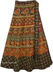 Deep Cocoa Fall Ethnic Wrap Skirt with Camel Print