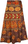 Ethnic Long Wrap Skirt with Folk Patterns