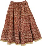 Roof Terracotta Mid Length Cotton Summer Skirt