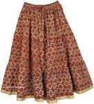 Roof Terracotta Mid Length Cotton Summer Skirt