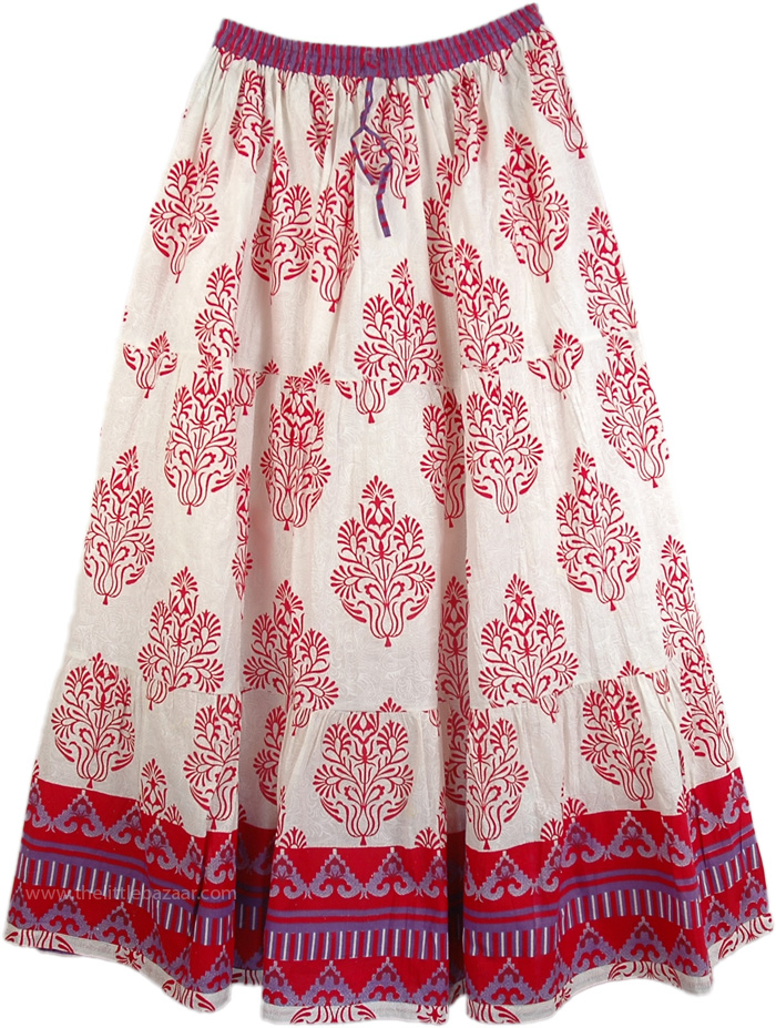 Sparkle Flowers Cotton Print Skirt