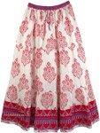Sparkle Flowers Cotton Print Skirt