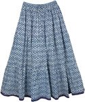 Cloud Burst Blue Cotton Long Womens Skirt
