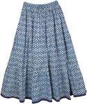 Cloud Burst Blue Cotton Long Womens Skirt