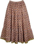 Old Bronze Womens Long Cotton Printed Skirt
