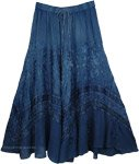 Rayon Embroidered Gypsy Skirt with Drawstrings