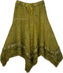Fringed Handkerchief Hem Embroidered Skirt