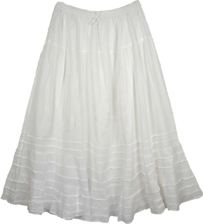 Arielle White Long Summer Skirt