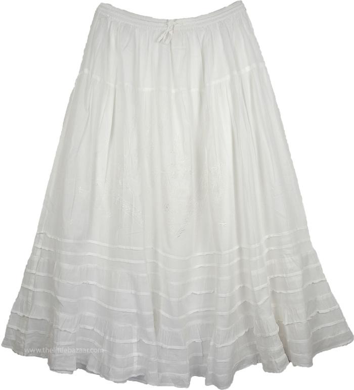 Arielle White Long Summer Skirt   White-Skirts, XL-Plus
