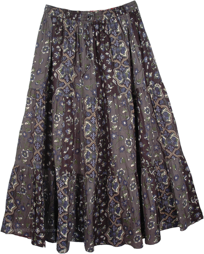 Womens Crinkled Cotton Reversible Skirt