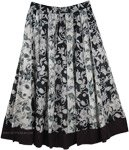 Black White Vertical Patchwork Cotton Skirt