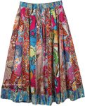 Multi Color Vertical Patchwork Cotton Skirt