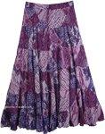Cosmic Karma Purple Cotton Summer Skirt