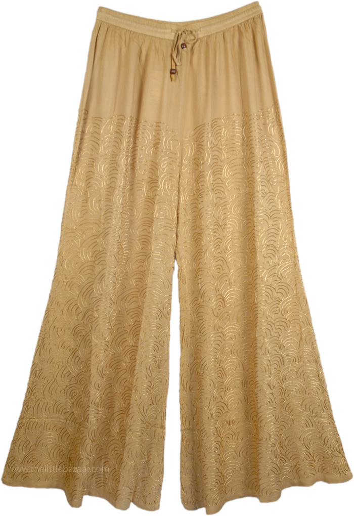 Biege Embroidered Womens Wide Leg Pant