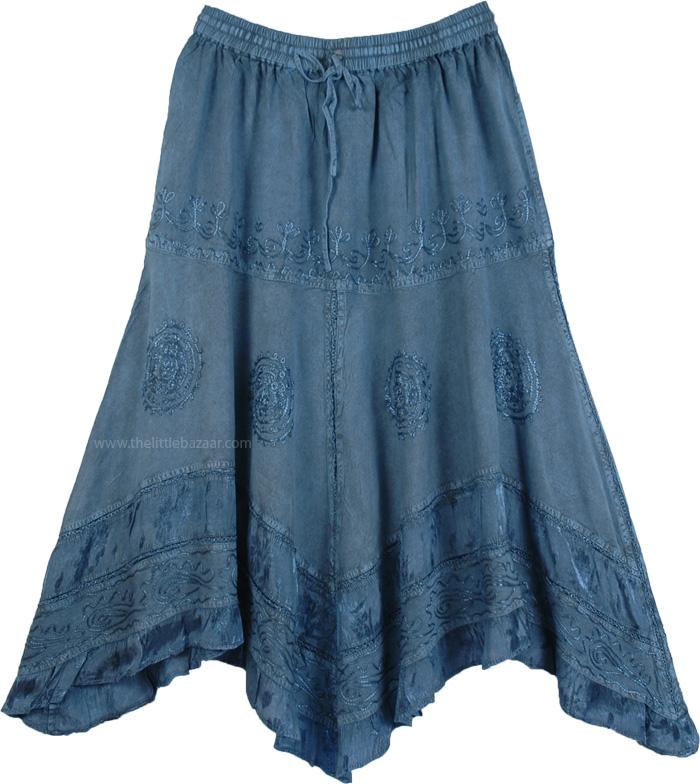 Handkerchief Hem Embroidered Denim Blue Skirt