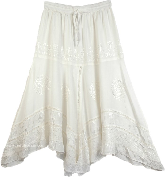 Handkerchief Hem Embroidered White Skirt