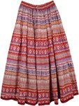 Fiery Boho Cotton Print Long Skirt