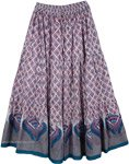 Dusty Gray Print Long Skirt