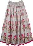 Lovsickle White Pink Floral Long Skirt