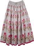 Lovsickle White Pink Floral Long Skirt