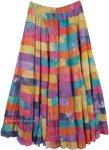 Watercolor Multi Color Patchwork Maxi Skirt
