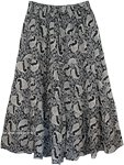 Black White Paisley Print Skirt in Cotton