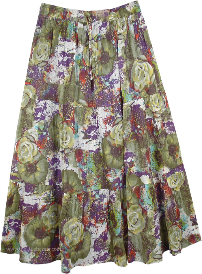 Avocado Floral Summer Happy Skirt