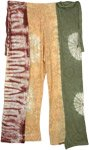 Floral Tricolor Tie Dyed Wrap Around Tie Palazzo Pants