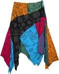 Mandara Uneven Hem Cotton Patchwork Skirt