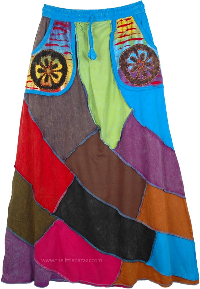 Solid Patchwork Skirt with Applique Pockets