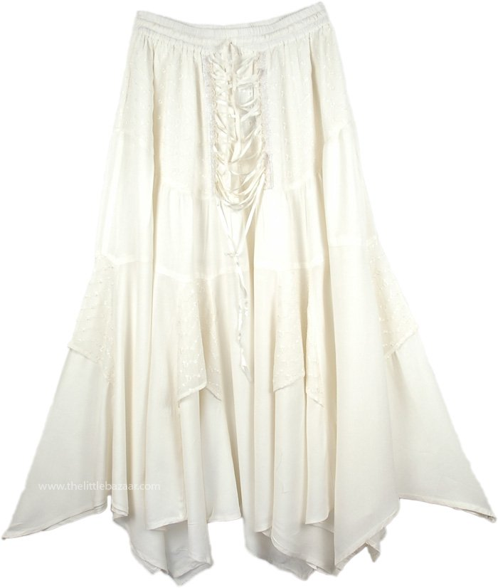 Pure White Angelic Medieval Long Skirt