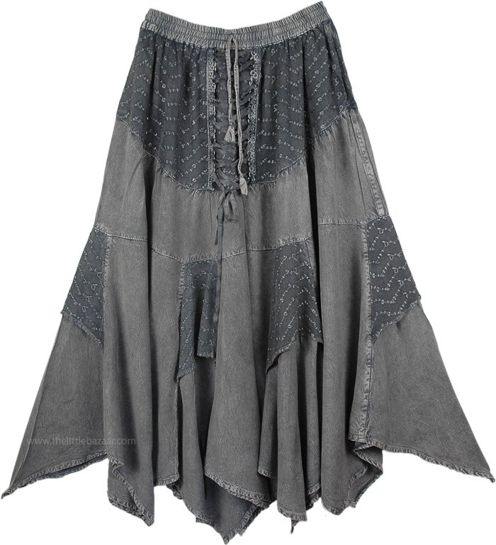 Womens Medieval Skirt Grey Stonewashed