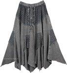 Womens Medieval Skirt Grey Stonewashed