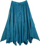 Handkerchief Hem Embroidered Teal Skirt