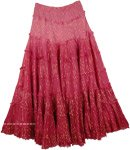 Maroon Flush Tinsel Cotton Ombre Skirt