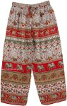 Wide Leg Red Elephant Printed Palazzo Pants