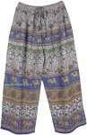 Blue Folk and Elephant Print Palazzo Pants