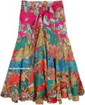 Tie-Up Multicolored Upcycled Patchwork Skirt in Cotton