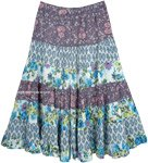Lavender Patchwork Summer Floral Full Skirt