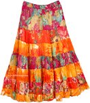 Dense Floral Midi Vacation Fiesta Skirt