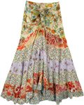 Multicolored Upcycled Patchwork Floral Skirt with Tie-Up Waist