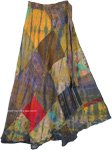 Harvest Gold Patch Wrap Around Bohemian Skirt