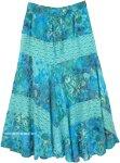 Aquamarine Print Lace Maxi Full Cotton Skirt