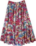 Claret Multi Color Patchwork Maxi Skirt